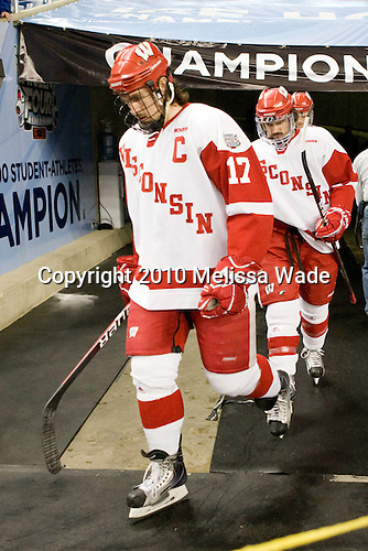Ryan McDonagh (Wisconsin - 17), Podge Turnbull (Wisconsin - 8) - The Boston College Eagles defeated the University of Wisconsin Badgers 5-0 to win the NCAA Division 1 national championship at the 2010 Frozen Four on Saturday, April 10, 2010, at Ford Field in Detroit, Michigan.