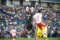William Hesmer makes a save over Juan Pablo Angel during MLS Cup 2008. Columbus Crew defeated the New York Red Bulls, 3-1, Sunday, November 23, 2008. Photo by John Todd/isiphotos.com