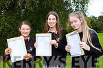 Martha Fitzgerald, Tova Buckley and Caoimhe Crowley delighted to finaaly have their Junior Cert results in Killarney Community College on Wednesday