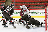 Josh McArdle (Brown - 12), Seb Lloyd (Harvard - 15), Tim Ernst (Brown - 33), Tyler Moy (Harvard - 2) - The Harvard University Crimson defeated the Brown University Bears 4-3 to sweep their first round match up in the ECAC playoffs on Saturday, March 7, 2015, at Bright-Landry Hockey Center in Cambridge, Massachusetts.