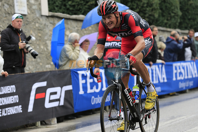 Riders at the summit of the Madonna del Ghisallo climb during the 107th edition 2013 Tour of Lombardy 242 Km starting in Bergamo and finishing in Lecco. 6th October 2013.<br /> (Photo: Eoin Clarke/www.newsfile.ie)