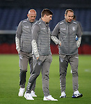 27.11.2019: Rangers press conference, Rotterdam: Steven Gerrard with Gary McAllister and Jordan Milsom