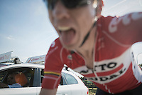 Marcel Sieberg (DEU/Lotto-Soudal) just before he would crash out of the race...<br /> taking a selfie (jokingly snatching my camera mid-race) minutes before the fall that would put him out<br /> <br /> 12th Eneco Tour 2016 (UCI World Tour)<br /> Stage 6: Riemst › Lanaken (185km)