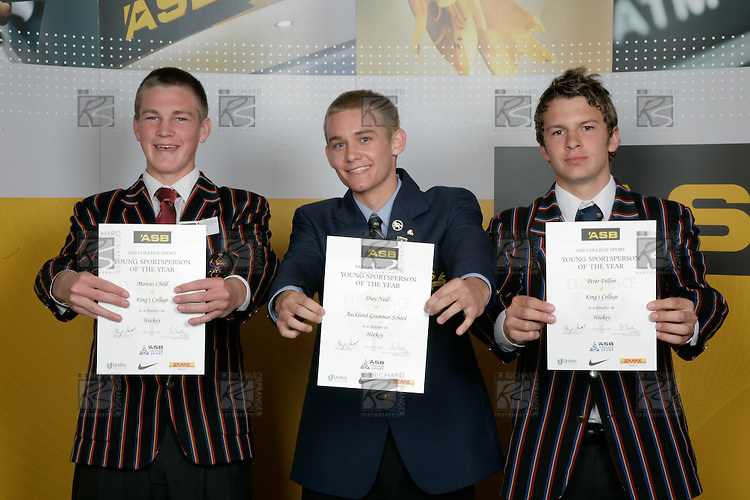 Boys Hockey finalists Marcus Child, Shay Neal & Peter Dillion. ASB College Sport Young Sportperson of the Year Awards 2007 held at Eden Park on November 15th, 2007.