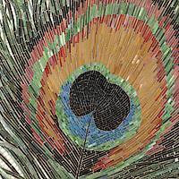 Peacock, a hand-cut jewel glass mosaic, is shown in Obsidian, Jasper, Tortoise Shell, Peacock Topaz, Peridot, Carnelian, Tiger's Eye, Aventurine, Malachite and Opal.