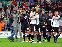 ATTENTION SPORTS PICTURE DESK<br /> Pictured: (L-R) Paulo Sousa Manager of Swansea City, Lee Trundle, Ashley Williams, Andrea Orlandi, Joe Allen and Cedric van der Gun celebrate at full time <br /> Re: Coca Cola Championship, Swansea City Football Club v Cardiff City FC at the Liberty Stadium, Swansea, south Wales. Saturday 07 November 2009