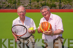 At South Kerry Sports Centre's new multi-purpose court is from left, Junior Murphy and PRO of the centre, Christy O'Connell.