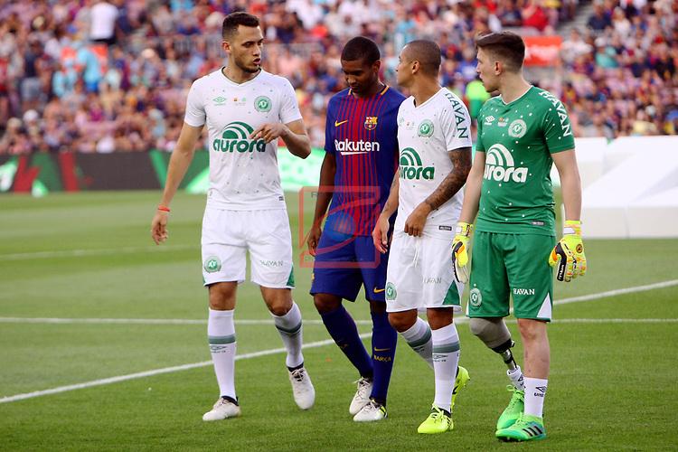 52e Trofeu Joan Gamper.<br /> FC Barcelona vs Chapecoense: 5-0.<br /> Helio Neto, Marlon &amp; Jackson Follman.