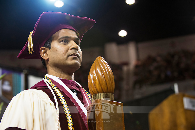 Mace bearer Dr. Veera Gnaneswar Gude<br />  (photo by Beth Wynn / &copy; Mississippi State University)