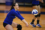 Marymount's Erin Allison passes in a college volleyball game against St. Mary's in Lexington Park, MD, on Wednesday, Oct. 29, 2014. Marymount won 3-2 to go 24-9 on the season.<br /> Photo by Cathleen Allison