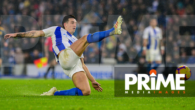 Lewis Dunk of Brighton & Hove Albion (5)  during the Premier League match between Brighton and Hove Albion and Leicester City at the American Express Community Stadium, Brighton and Hove, England on 24 November 2018. Photo by Edward Thomas / PRiME Media Images.