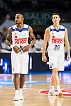 Real Madrid's players Dontaye Draper and Jaycee Carroll during match of Liga Endesa at Barclaycard Center in Madrid. September 30, Spain. 2016. (ALTERPHOTOS/BorjaB.Hojas)
