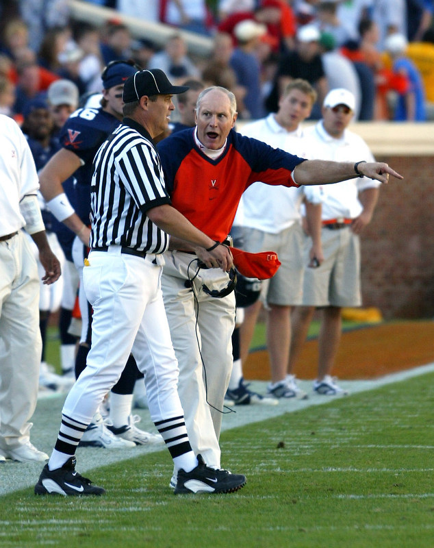 Virginia head coach Al Groh argues with an official during the 29-17 win over Goergia Tech November 22, 2003 at Scott Stadium in Charlottesville, Va. (AP Photo/Andrew Shurtleff/the Daily Progress)