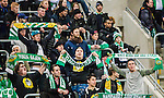 Stockholm 2015-02-16 Fotboll Tr&auml;ningsmatch Hammarby IF - LA Galaxy :  <br /> Hammarbys supportrar med halsdukar &auml;r glada p&aring; l&auml;ktaren under matchen mellan Hammarby IF och LA Galaxy <br /> (Foto: Kenta J&ouml;nsson) Nyckelord:  Fotboll Tr&auml;ningsmatch Tele2 Arena Hammarby HIF Bajen Los Angeles LA Galaxy supporter fans publik supporters glad gl&auml;dje lycka leende ler le
