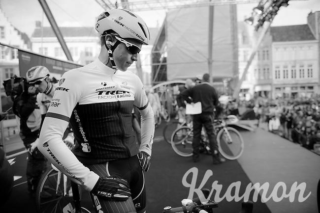 the only previous winner to start the 99th Ronde van Vlaanderen Stijn Devolder (BEL/Trek Factory Racing) having a moment to himself on the start podium