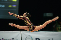 Anna Bessonova of Ukraine split leaps to recatch rope at 2008 Portimao World Cup of Rhythmic Gymnastics on April 20, 2008.  Photo by Tom Theobald.