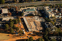 Aerial view of a new structure under construction near Charlotte's Phillips Place.