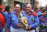 """Gubbio 15 MAY 2005..Festival of the Ceri..The ceraioli of St George and the """"capodieci""""....http://www.ceri.it/ceri_eng/index.htm.."""