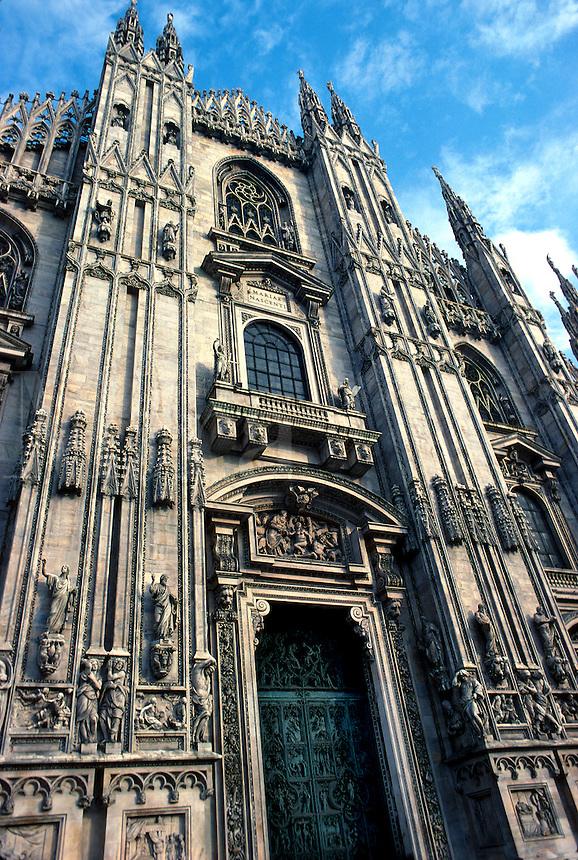 Front facade of Cathedral of Milan. Built circa 1380. Milan, Italy.