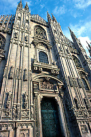 Front facade of Cathedral of Milan. Built circa 1380. Milan, Italy.