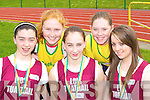 Medal winners at the Kerry Athletic Championships in Castleisland on Sunday were l-r: Ciara O'Mahony Listowel, Annie Sheehan Gneeveguilla, Rebecca Lynch Listowel, Niamh Coffey Gneeveguilla and Elaine Bunyan Listowel    Copyright Kerry's Eye 2008