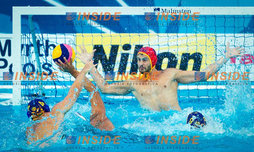 KAZ - MNE<br /> Kazakistan Vs Montenegro<br /> LAZOVIC Dejan MNE<br /> IVOVIC Aleksandar KAZ<br /> UKUMANOV Rustam MNE<br /> Day 10 02/08/2015<br /> XVI FINA World Championships Aquatics<br /> Waterpolo<br /> Kazan Tatarstan RUS July 24 - Aug. 9 2015 <br /> Photo Pasquale Mesiano/Deepbluemedia/Insidefoto