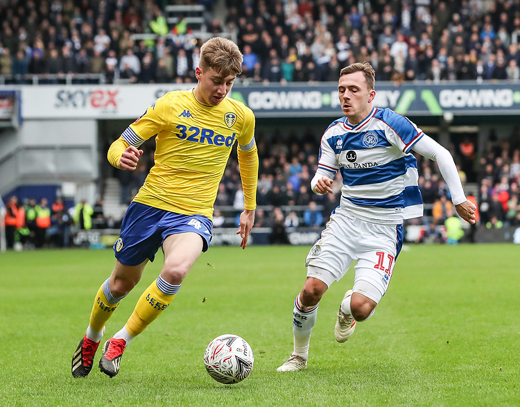 Leeds United's Jack Clarke competing with Queens Park Rangers' Josh Scowen<br /> <br /> Photographer Andrew Kearns/CameraSport<br /> <br /> The Emirates FA Cup Third Round - Queens Park Rangers v Leeds United - Sunday 6th January 2019 - Loftus Road - London<br />  <br /> World Copyright © 2019 CameraSport. All rights reserved. 43 Linden Ave. Countesthorpe. Leicester. England. LE8 5PG - Tel: +44 (0) 116 277 4147 - admin@camerasport.com - www.camerasport.com