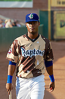 Gerson Nunez (14) of the Ogden Raptors prior to the game against the Great Falls Voyagers at Lindquist Field on August 16, 2013 in Ogden Utah. Military Appreciation Night saw the Raptors take the field in camouflage uniforms. (Stephen Smith/Four Seam Images)