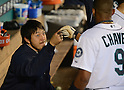 Hisashi Iwakuma (Mariners),.MAY 26, 2013 - MLB :.Hisashi Iwakuma of the Seattle Mariners gets a fist bump from teammate Endy Chavez in the dugout during the baseball game against the Texas Rangers at Safeco Field in Seattle, Washington, United States. (Photo by AFLO)