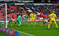 Fleetwood Town's Ched Evans scores his side's first goal  <br /> <br /> Photographer Richard Martin-Roberts/CameraSport<br /> <br /> The EFL Sky Bet League One - Barnsley v Fleetwood Town - Saturday 13th April 2019 - Oakwell - Barnsley<br /> <br /> World Copyright &not;&copy; 2019 CameraSport. All rights reserved. 43 Linden Ave. Countesthorpe. Leicester. England. LE8 5PG - Tel: +44 (0) 116 277 4147 - admin@camerasport.com - www.camerasport.com