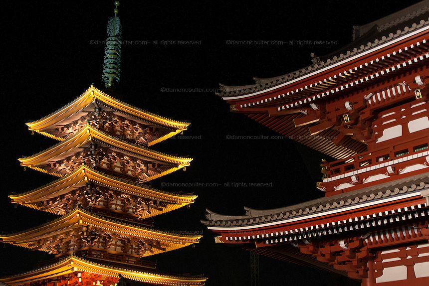 A Pagoda illuminated at Senso-Ji Temple, Asakusa, Tokyo, Japan. February 5th 2011
