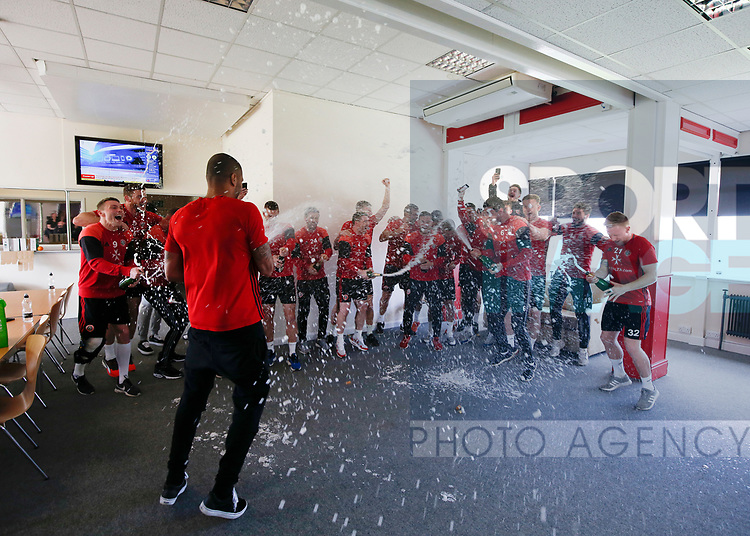 Sheffield Utd players celebrate becoming League One Champions at Shirecliffe Training complex, Sheffield. Picture date: April 15th 2017. Pic credit should read: Simon Bellis/Sportimage
