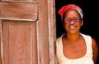 Local portrait of people in doorway in Santa Clara Cuba