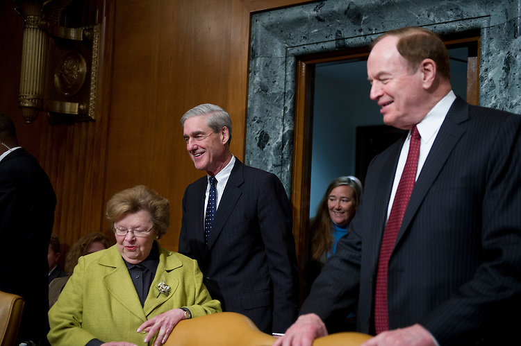 UNITED STATES - May 16: Sen. Barbara Mikulski, D-MD., Director of the FBI, Robert Mueller and Sen. Richard Shelby, R-AL., before the start of the Appropriation subcommittee hearings to examine proposed budget estimates for fiscal year 2014 for the Federal Bureau of Investigation.  (Photo By Douglas Graham/CQ Roll Call)