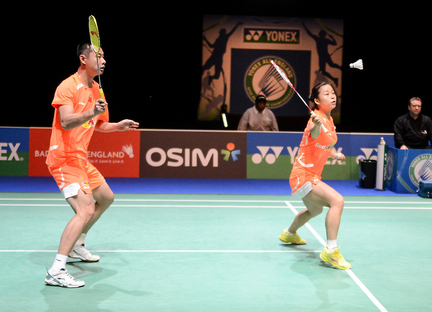 Chen XU [1] CHN] and Jin MA [CHN] in action today during their defeat to Muhammad RIJAL [7] [INA] and Debby SUSANTO [INA] in their Mixed Doubles Quarter final match. Muhammad RIJAL [7] [INA] and Debby SUSANTO [INA] bt Chen XU [1] CHN] and Jin MA [CHN]  16-21 21-13 21-18..BWF -  2013 Yonex All England Badminton Championships Super Series Premier - The National Indoor Arena - Birmingham - England - Friday 08th March 2013..© CameraSport - 43 Linden Ave. Countesthorpe. Leicester. England. LE8 5PG - Tel: +44 (0) 116 277 4147 - admin@camerasport.com - www.camerasport.com