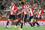 FC Barcelona's Luis Suarez (2l) and Athletic de Bilbao's Aymeric Laporte (l), Xabier Etxeita (c), Carlos Gurpegui (2r) and Benat Etxebarria during Supercup of Spain 2nd match.August 17,2015. (ALTERPHOTOS/Acero)