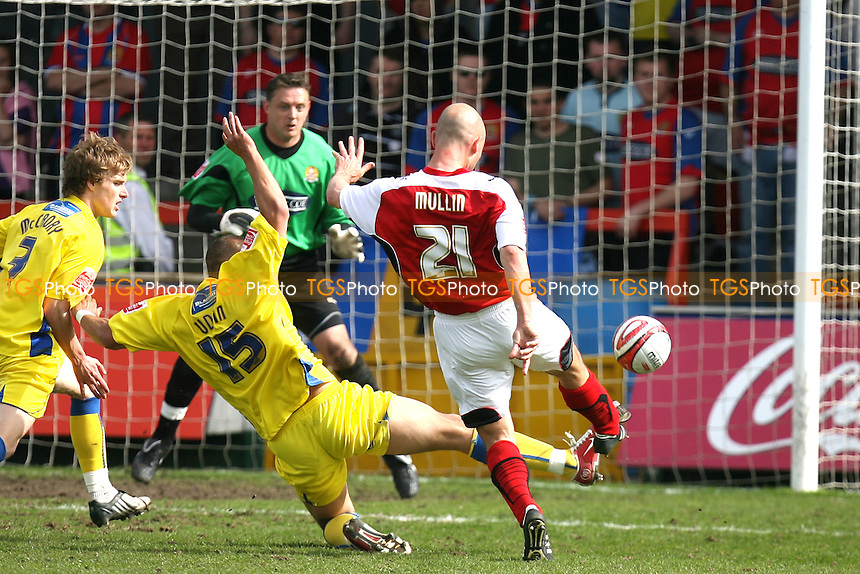 Paul Mullin of Morecambe somehow blasts his shot over the bar - Morecambe vs Dagenham & Redbridge 24/04/10 - MANDATORY CREDIT: Dave Simpson/TGSPHOTO - Self billing applies where appropriate - 0845 094 6026 - contact@tgsphoto.co.uk -NO UNPAID USE