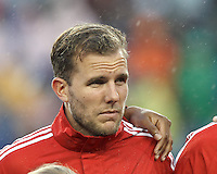 Toronto FC forward Jeremy Brockie (22). In a Major League Soccer (MLS) match, the New England Revolution (blue) defeated Toronto FC (red), 2-0, at Gillette Stadium on May 25, 2013.