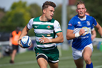 Seb Stegmann of Ealing Trailfinders scores a try during the 2019/20 Pre Season Friendly match between Ealing Trailfinders and Bishop's Stortford at Castle Bar , West Ealing , England  on 24 August 2019. Photo by Alan  Stanford / PRiME Media images