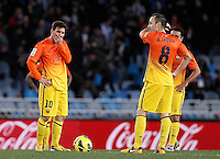 FC Barcelona's Leo Messi (l), Andres Iniesta and Xavi Hernandez dejected after goal during La Liga match.January 19,2013. (ALTERPHOTOS/Acero) /NortePhoto