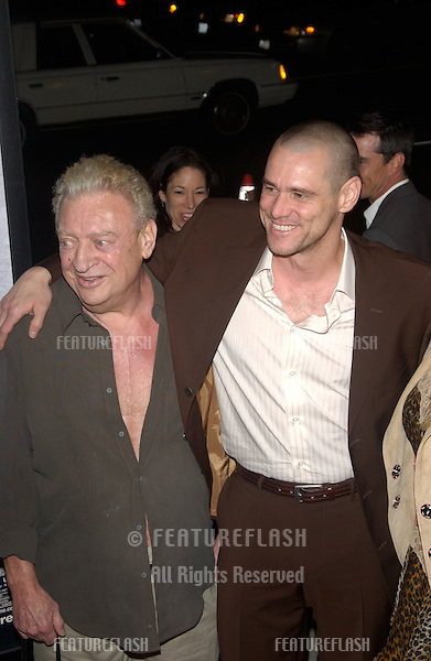 Actor JIM CARREY (right) with comedian RODNEY DANGERFIELD at the world premiere of Carrey's new movie Eternal Sunshine of the Spotless Mind, in Beverly Hills, CA..March 9, 2004