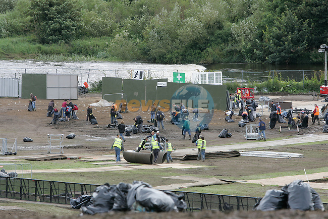 Slane Castle Rolling Stones Concert the clean up began as the band left the concert site 12 hours later the stage was nearly gone and the site nearly cleaned up, Not a blade of grass was to be found...Photo: Newsfile/Fran Caffrey.