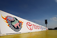 May 30, 2013; Englishtown, NJ, USA: Detailed view of the Mello Yello NHRA logo on the starting line of Raceway Park. Mandatory Credit: Mark J. Rebilas-