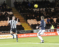 Jack Baird heads across goal in the St Mirren v Falkirk Scottish Professional Football League Ladbrokes Championship match played at the Paisley 2021 Stadium, Paisley on 1.3.16.