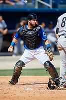 Biloxi Shuckers catcher Dustin Houle (21) during a game against the Jackson Generals on April 23, 2017 at MGM Park in Biloxi, Mississippi.  Biloxi defeated Jackson 3-2.  (Mike Janes/Four Seam Images)
