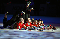 "Deriugina School gymnasts of Ukraine perform gala exhibition before 2007 World Cup Kiev, ""Deriugina Cup"" in Kiev, Ukraine on March 16, 2007."