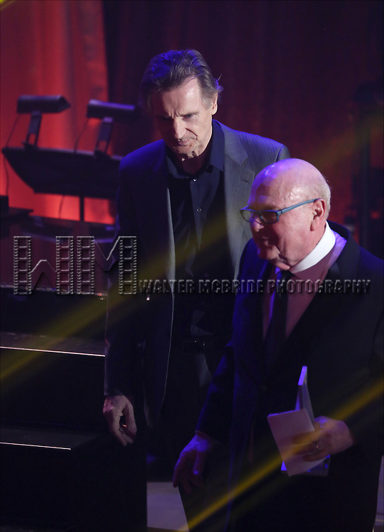 Liam Neeson and Thomas E. Tufts onstage during the Roundabout Theatre Company's  50th Anniversary Gala at The Waldorf-Astoria on February 29, 2016 in New York City.