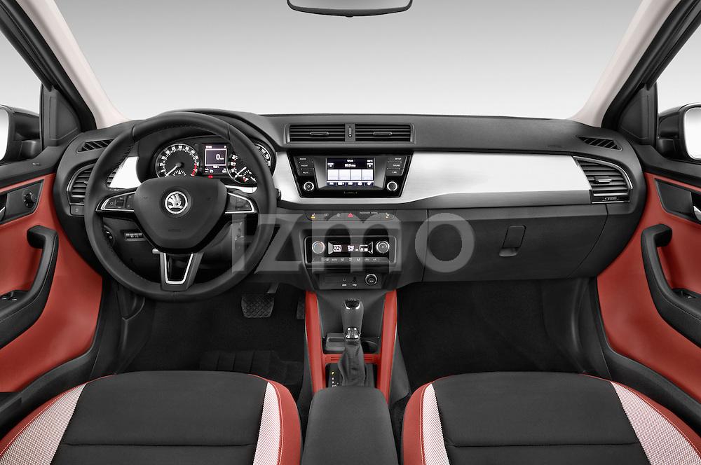 Stock photo of straight dashboard view of a 2015 Skoda Fabia Ambition 5 Door Wagon Dashboard