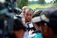 June 30, 2013  (Bethesda, Maryland)  Tiger Woods speaks with news media after the AT&T National at Congressional Country Club  (Photo by Don Baxter/Media Images International)