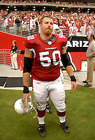 Aug 18, 2007; Glendale, AZ, USA; Arizona Cardinals center Al Johnson (50) against the Houston Texans at University of Phoenix Stadium. Mandatory Credit: Mark J. Rebilas-US PRESSWIRE Copyright © 2007 Mark J. Rebilas